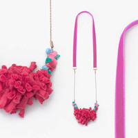 Textile  Necklace in Red Coral with Pink Velvet Ribbon ECO-FRIENDLY