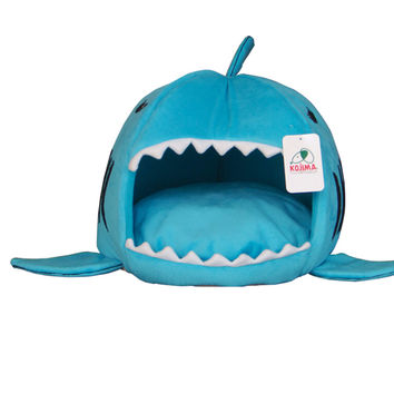 Shark Mouth Shape Pets House Bed For Dog Cat Small Blue