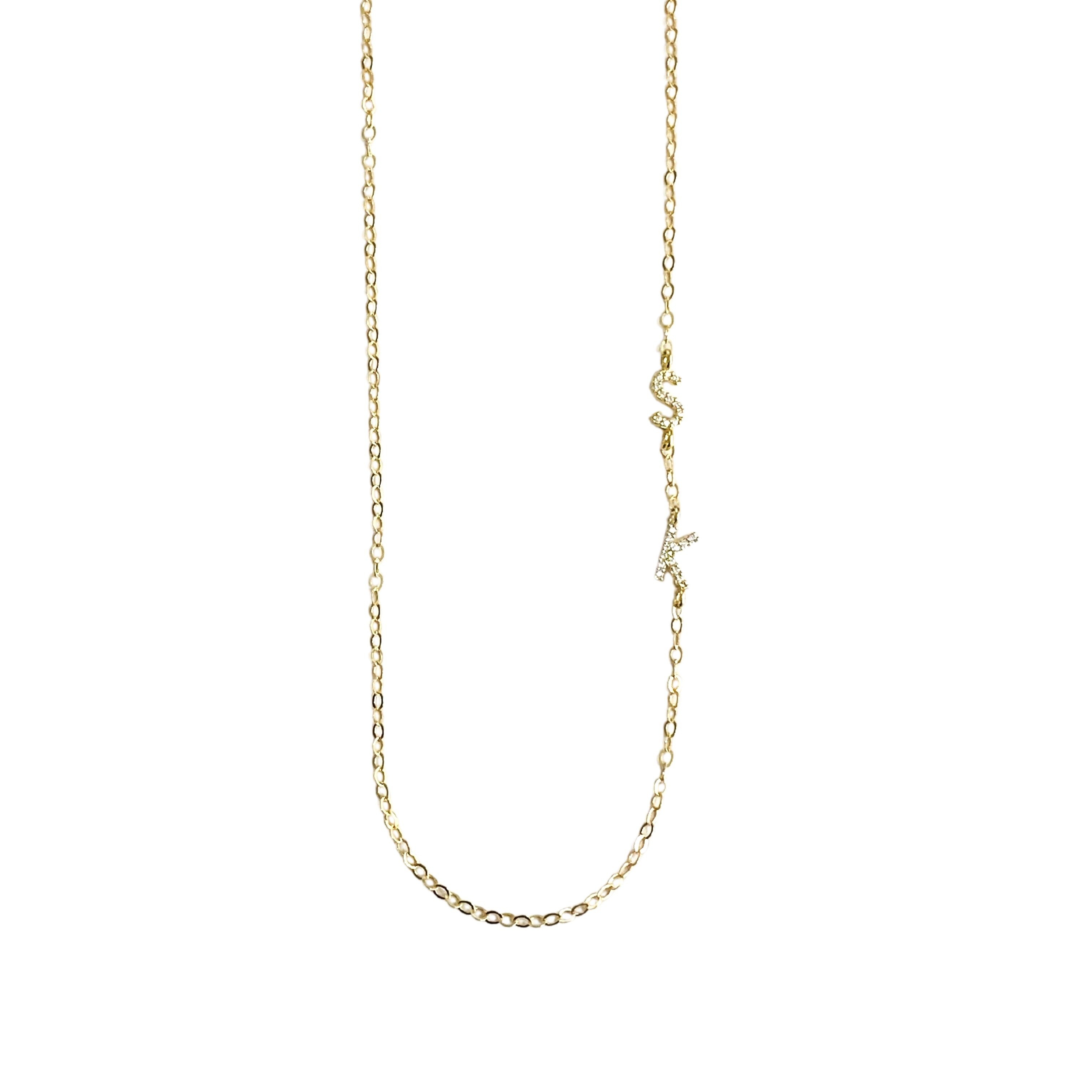 Image of Cubic Zirconia Sideway Initial Necklace