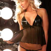 Vinyl and Mesh Baby Doll with G String