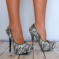 Crackle Black and White Heels