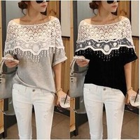 S-5XL Women Sweet Hollow Out Off Shoulder Lace Loose Tee Women T-shirt Crochet Cape Collar Tops Blouse 3 Colors