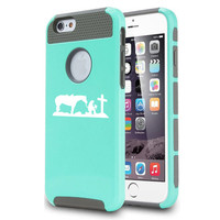 For Apple iPhone 5 5s 5c 6 6s PlusShockproof Impact Dual Layer Hard Cover / Soft Silicone Rubber Inside Case Cowgirl Praying Cross Horse