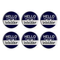 Walter Hello My Name Is Plastic Resin Button Set of 6