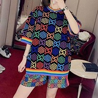 """Gucci"" Loose Fashion Multicolor GG Letter Pentagram Pattern Short Sleeve Knitwear Women Round Neck Sweater Top"