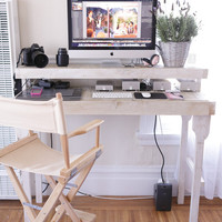 Reclaimed Wood Standing Desk in Antique White with Removable Legs