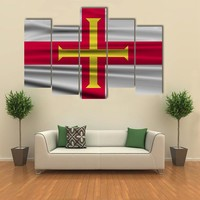 Flag Of Guernsey Multi Panel Canvas Wall Art