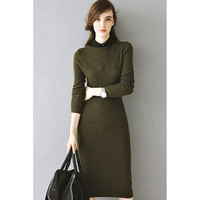 Winter Super Warm Minimalistic Long Wool Knit Dress