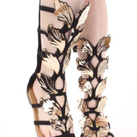 Golden Wing Faux Nubuck Gladiator Roman Mid Calf Sandal Shoes