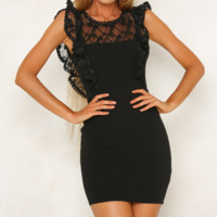 Summer New Fashion Lace Solid Color Vest Dress Women Black