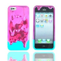 Z-Gadget® Electroplating: Melting 3D Ice-Cream (Purple Blue) Cover Case for iPhone 5