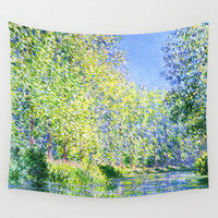 Bend in the River Epte by Claude Monet Wall Tapestry by PureVintageLove
