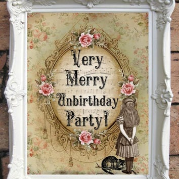 ALICE in Wonderland  Shabby Chic Decor. Vintage Style Alice Party decoration. Altered Book Illustration.Unbirthday party gift.  Code:A021