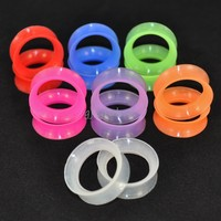 ~ 7 Pairs~ Thin Silicone Flexible EarSkin Flesh Tunnels Plugs Ear Gauges Earlets