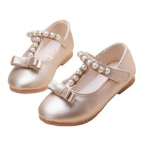 New 2018 Kids Baby Flowers Children Princess Leather Toddler Shoes For Little Girl Gold Beaded Dance Wedding Party Dress Shoes