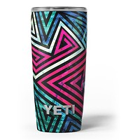 Grungy Neon Triangular Zig Zag Shapes - Skin Decal Vinyl Wrap Kit compatible with the Yeti Rambler Cooler Tumbler Cups