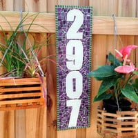 Purple Mosaic Address Sign, Outdoor House Numbers