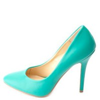 Almond Toe Single Sole Pumps by Charlotte Russe - Green