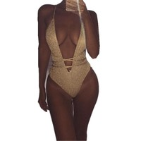 Women solid sequin deep V Sleeveless one piece bikini swimsuit Bodysuit Leotard Bandage beachwear swimwear women female