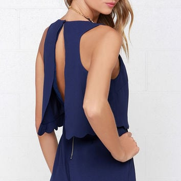 Ahead of the Curves Scalloped Navy Blue Romper