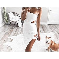 Fashionable waist-and-chest hollow open-forked dress