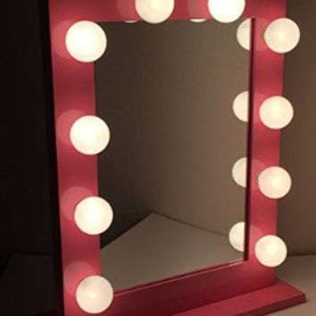 Chic Hollywood Lighted Make-up Vanity Back Stage Mirror (Pink)