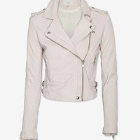 IRO EXCLUSIVE Leather Jacket: Pink Rose-Jackets + Outerwear-Clothing-Categories- IntermixOnline.com