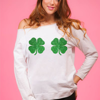 Four Clover Glitter Off shoulder shirt. St Patrick's Day Shirts