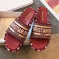 DIOR Popular Women Retro Thick Soles Slippers Sandals Shoes