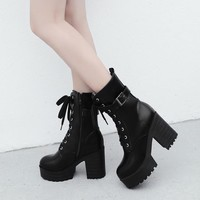 PXELENA Vintage Punk Rock Gothic Ankle Boots Women Thick Platform Chunky Block High Heels Motorcycle Martin Boots Shoes Lace Up