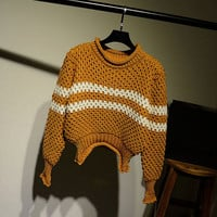 Womens Comfortable Striped Knit Pullover Sweater