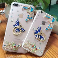 Transparent Butterfly Phone Case For iPhone 6/6s/6 Plus/7/7 Plus With Finger Ring