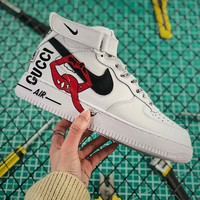 Gucci X Nike Air Force 1 Mid With Mouth Print White Fashion Shoes