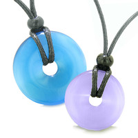 Large and Small Lucky Coin Donuts Amulets Love Couples Sky Blue Purple Cats Eye Charms Pendant Necklaces