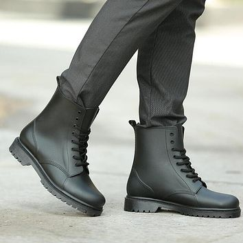 Tangnest NEW 2017 Men Ankle Boots Fashion British Style Lace Up Ankle Boots
