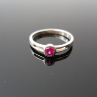 Genuine Ruby Ring, Silver Ring, Pinky Ring, Sterling Ring, Red Stone Ring, 925 Ring, Child Ring, Size 4 Ring, 925 Ruby Ring, Ruby Pinky Ring