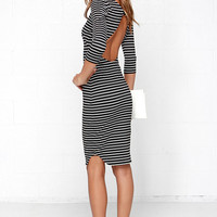 The Fifth Label No Time to Waste Black Striped Midi Dress