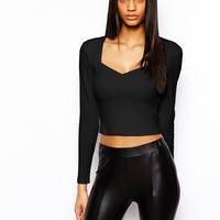 ASOS Crop Top with Bardot Sweetheart Neckline and long sleeves