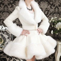 White Turn-Down Collar Faux Fur Long Sleeve Ruffle Coat