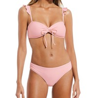 Gianni Bini Solid Angel Ruffle Strap Bandeau Swimsuit Top & Classic Swimsuit Bottom | Dillard's