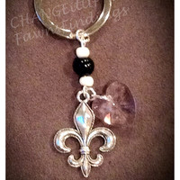 Fleur de Lis with Pink Crystal Heart Keychain w/ or w/out beads (Colors of your choice) perfect for Gift, Banquet, Mascot, Favors