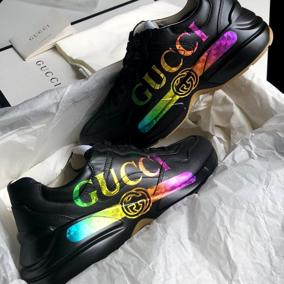 Image of GG Rhyton Printed Distressed Leather Sneakers Shoes