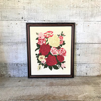 Embroidery Wall Art Roses Cross Stitch Framed Embroidery Wall Hanging Framed Crewel Picture Needlepoint Wall Hanging Cottage Chic