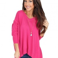 How Ya Doin' Sweater in Fuchsia | Monday Dress Boutique