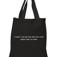 """One Direction """"Perfect - 'Cause I Can Be The One You Love From Time to Time"""" 100% Cotton Tote Bag"""