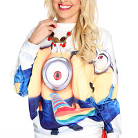 White Yellow Cartoon Character Print Pullover Sweater