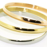 Set of 3 Stainless Steel Copper Silver & Gold Bangle Cuff