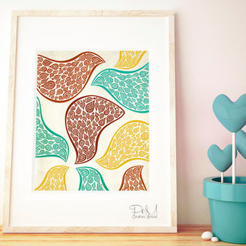 8x10 Abstract Art Print – Birds in Disguise Terra Illustration Wall Art in Brown, Turquoise & Yellow, Also in 11x14