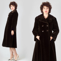 70s Dark Brown Princess Coat / Double Breasted Faux Fur Swing Coat / Elegant Classy Cocktail Evening Small S Coat