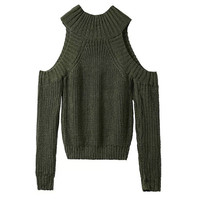 Army Green Cutout Shoulder Knitted Sweater